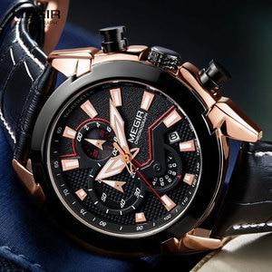 Image 3 - MEGIR גברים של אופנה ספורט קוורץ שעונים עור עמיד למים זוהר הכרונוגרף שעוני יד שעון Relogios Masculino 2065 עלה