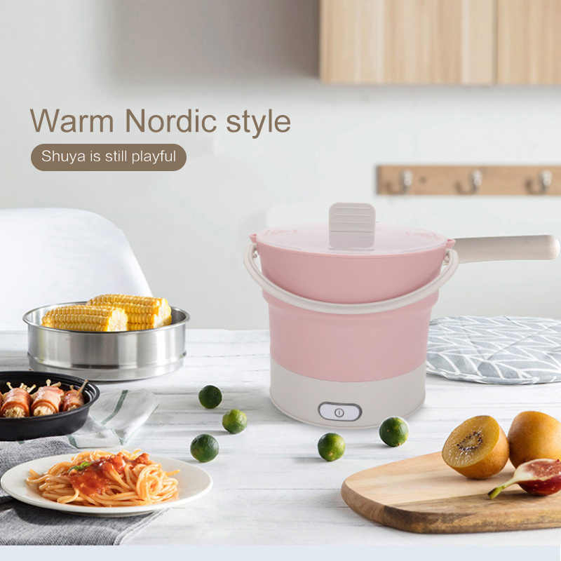 Foldable Makanan Wadah Makan Kotak Makan Siang Panas Ketel Cooker Electric Frying Pan Portable Hot Pot EU/US/UK Teh plug