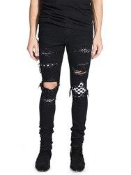 2018 High Street Fashion Jeans Zwart Vernietigd Hip Hop Jeans Mannen Gebroken Punk Broek Patch Skinny Ripped jeans Voor Mannen
