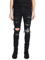 2018 High Street Fashion Men's Jeans Black Color Destroyed Hip Hop Jeans Men Broken Punk Pants Patch Skinny Ripped Jeans For Men