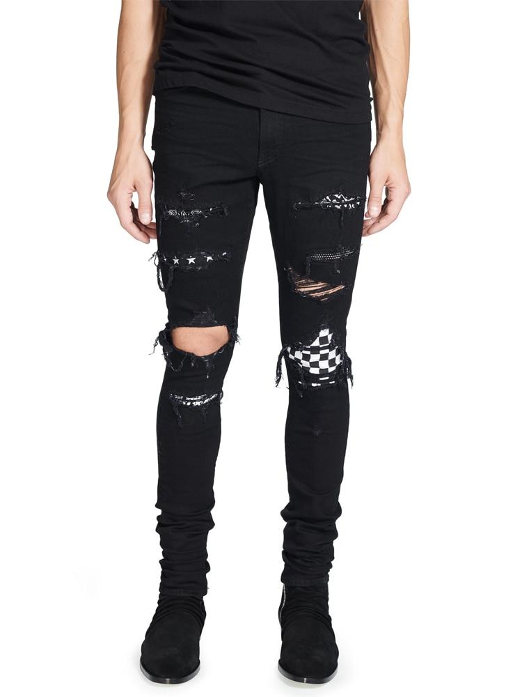 High Street Fashion Men's Jeans Black Color Destroyed Hip Hop Jeans Men Broken Punk Pants Patch Skinny Ripped Jeans For Men