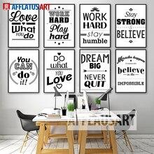 AFFLATUS Motivatie Typografie Leven Citaten Canvas Painting Voor Woonkamer Zwart Wit Kunstdruk Poster Muur Foto Decor