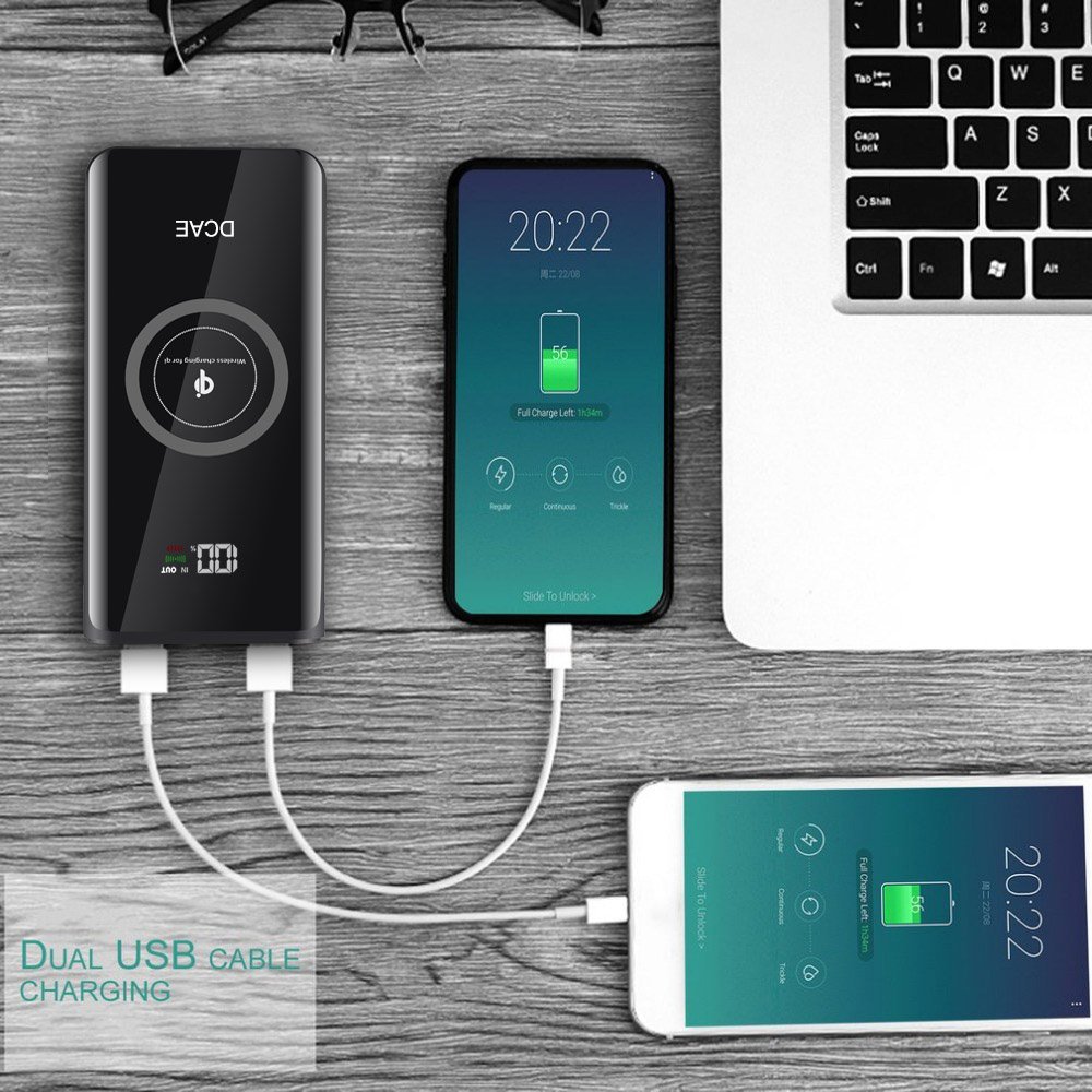 DCAE 10000mAh QI Wireless Charger Power Bank Portable External Battery Powerbank For iPhone XS Max XR X 8 Samsung S9 S8 Xiaomi 2