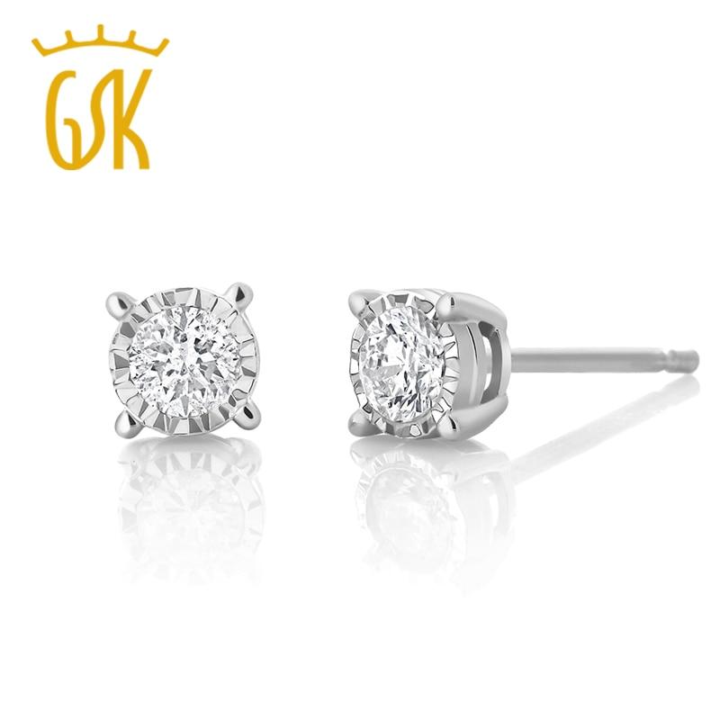 GemStoneKing IGI Certified Natural Diamond Jewelry 0 20cttw Illusion Set  Round Diamond 10K White Gold Stud Earrings For Women-in Earrings from  Jewelry