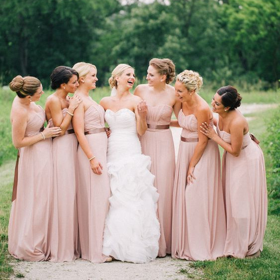Country Style Dusty Pink   Bridesmaid     Dresses   2019 vestidos de fiesta de noche Sweetheart Chiffon Maid Of Honor   Dress