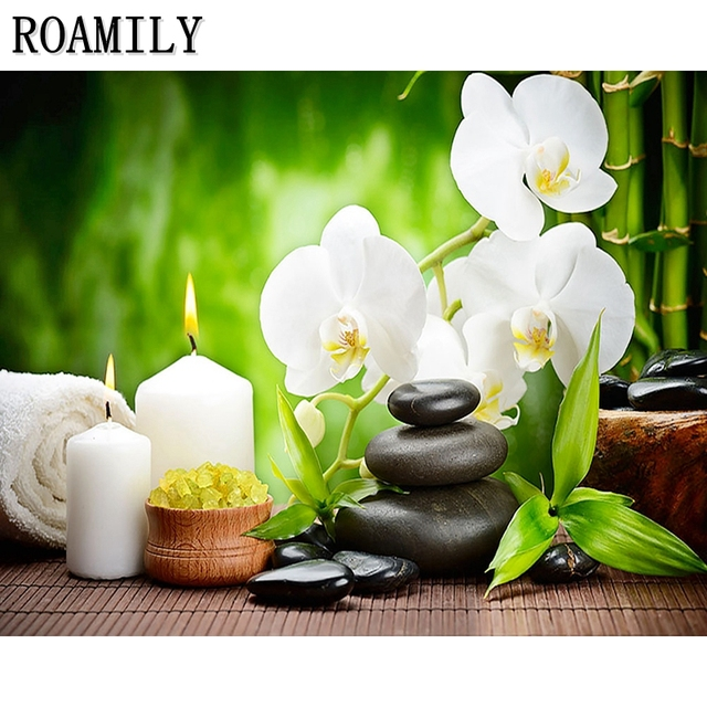 Roamilydaimond Paintingwhite Flowers And Candlespicture By