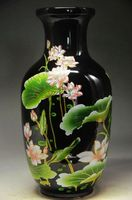Exquisite Chinese Classical old hand painted Black porcelain lotus vase