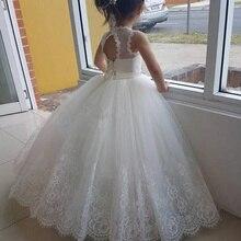Платье с цветочным узором для девочек белого цвета и цвета слоновой кости; пышные вечерние платья в пол с кружевной аппликацией и открытой спиной для первого причастия