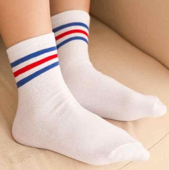 f325555cef2 ... 1 Pair Kids knee socks girls boys Football Stripes Cotton Sports School  Style White Socks Skate