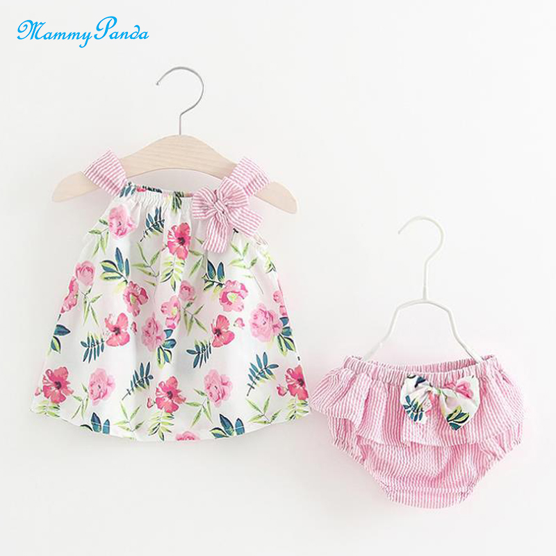 Flower Print Newborn Baby Girl Dresses With Panties Party Dress Baby Girl Casual Summer Dress Skirt Girls Baby Clothing Clothes