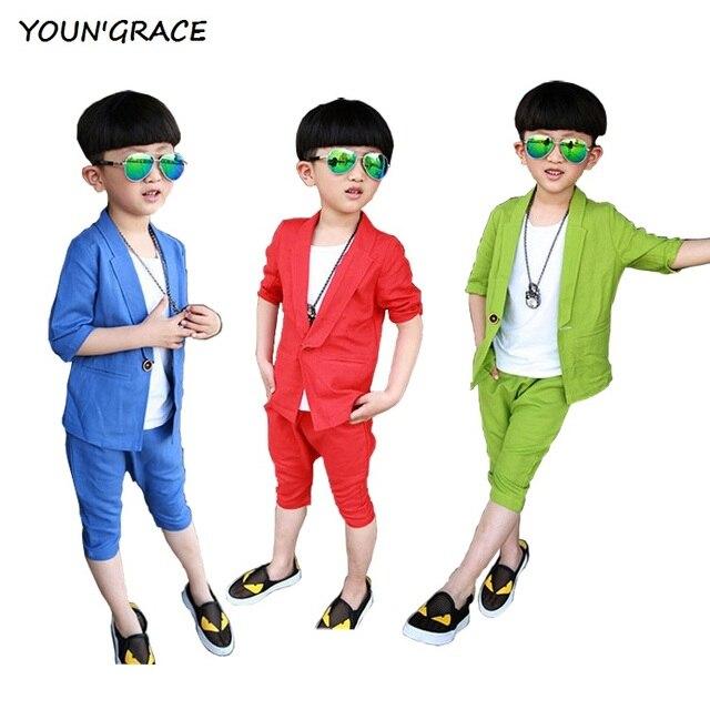 2016 новинка большие мальчики летние льняные одежда Set марка дети формальные пиджак костюмы детей летом конопли костюмы для мальчиков, C196