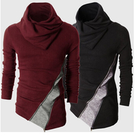 The New Foreign Trade Hit Color Turtleneck Sweater Slim Jacket Men Turned Mens Long Sleeve Polo
