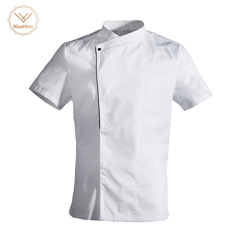 Food Service Restaurant Kitchen Short Sleeve White Chef Jacket High Quality Wearable Washable Black Chef Jacket Thin Section