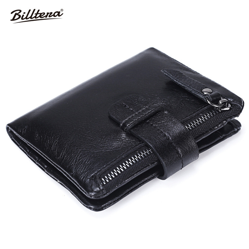 Billtera New Zipper Men Wallet Genuine Leather Purse Men's Casual Style Coin Purses Soft Wallet Credit Card Holder Free Shipping 100% genuine leather men s coffee wallet business credit card holder coin id purse 8011 1q