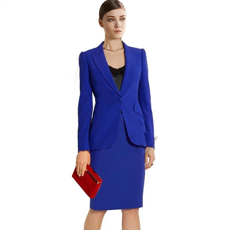 Royal Blue Women Business Office Suits Slim Ladies Formal
