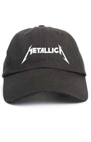 Prix pour Metallica Personnalisé Non Structurées Baseball Papa Chapeau Réglable Cap Bande Nouvelle-Noir