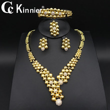 2019 new fashion Wedding engagement crystal  African Dubai  bridal bridesmaid  jewelry set for women necklace earrings