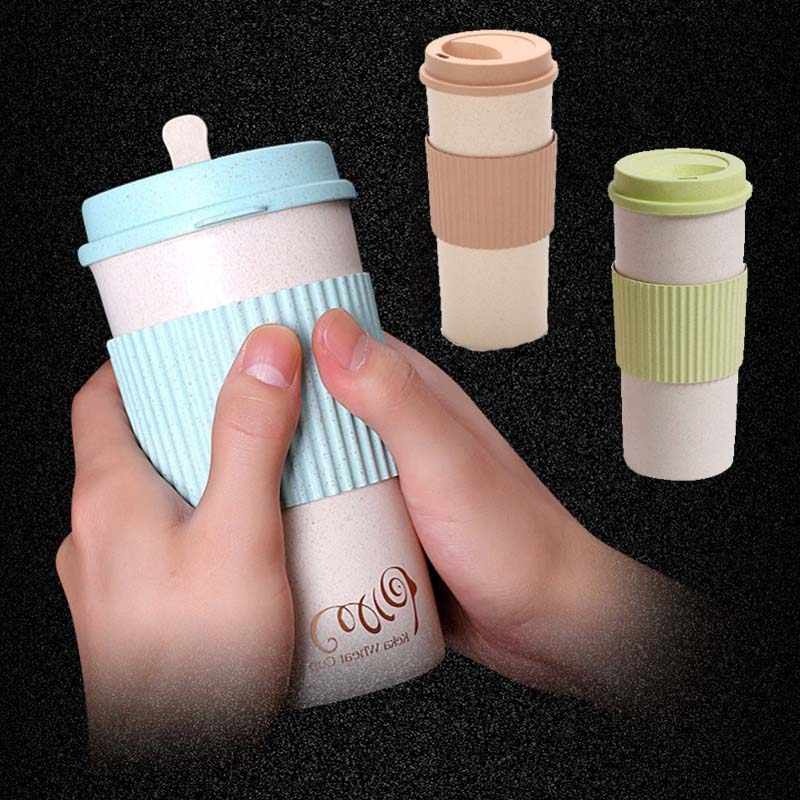 350/450/550 Ml Eco-Friendly Wheat Fiber Coffee Mug with Stir Lid Reusable Anti-scalding Milk Tea Travel Mugs and Cups