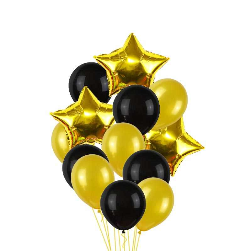 Party Decoration Set Black Gold Foil Balloons Happy Birthday Baby Shower Helium Number Balloon Birthday Wedding Backdrop Supply