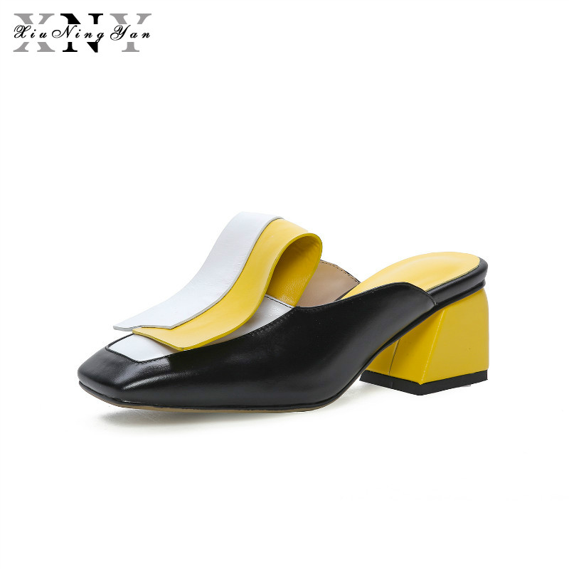 Women Pumps Chunky Mules Ladies Slippers Footwear Shallow Solid Slide Square Toe Genuine Leather Shoes Woman Spring Shoes 2019Women Pumps Chunky Mules Ladies Slippers Footwear Shallow Solid Slide Square Toe Genuine Leather Shoes Woman Spring Shoes 2019
