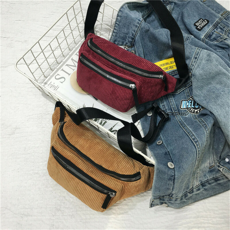Classic Fashion Corduroy Fanny Pack Women Waist Bag Adjustable Belt Money Travel Sport Bum Bag New
