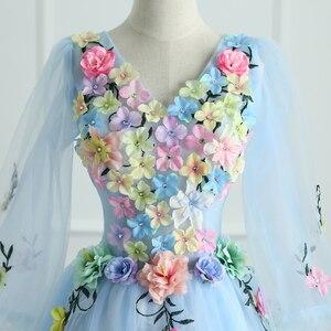 Image 4 - Quinceanera vestidos mrs win manga longa doce flores vestido de baile rendas elegante curto colorido vestido de baile festa formal crescimentos