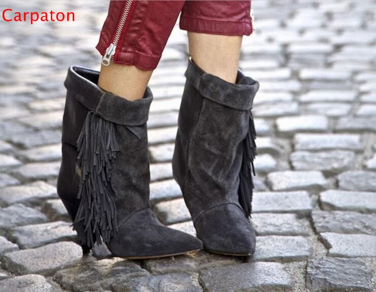 Europe Style Autumn Winter Faux Suede Gladiator Spike Heels Women Ankle Boots Fashion Patchwork Fringe Pointed Toe Tassel Boot