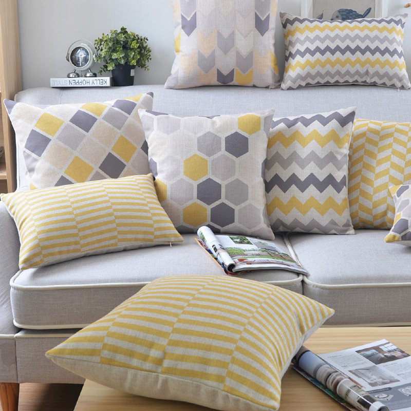 Grey And Yellow Geometric Custom Cushion Covers Stripe Plaid Creative Bed Sofa Throw Pillow Case Home Decoration Cojines 30*50cm