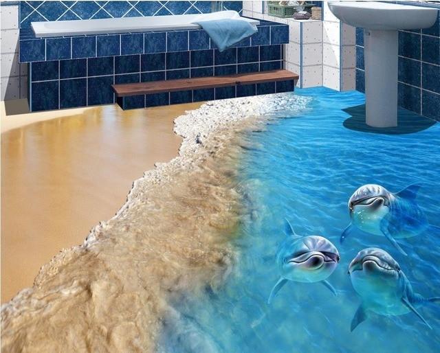 Benutzerdefinierte 3d boden strand delfin tapeten 3d for Pvc boden 3d