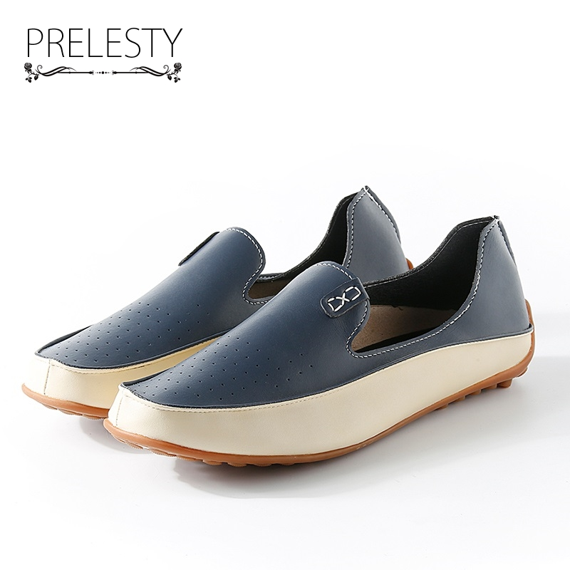 Prelesty Big Size Spring Autumn Men Luxury Brand Driving Shoes Breathable Leather Flats Loafers Casual Slip On Footwear Male