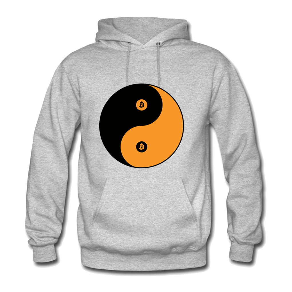 Bitcoin Yin Yang Hoodies Men Women Hooded Pullover Sweatershirts Male Female Baby Hood Hoddie Sweatshirts