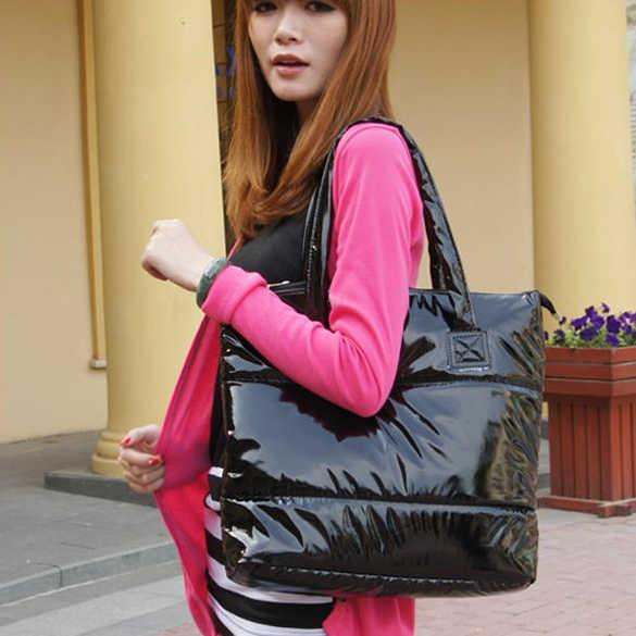 Baru Fashion Wanita Single Tas Bahu Tote Ruang Pad Katun Bulu Down Tas Kasual Warna Solid Tas Wanita