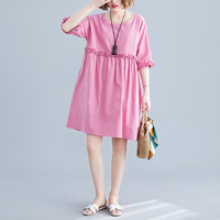 AIYANGA Summer Dress For Women 2019 Vintage Loose Plus Size Dresses Female Pink Casual Cotton and Line Fashion Dress