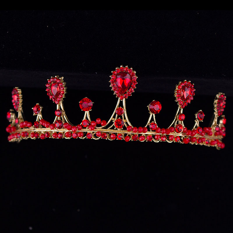 Baroque Luxury Red Crystal Bridal Crown Tiaras Vintage Gold Diadem Tiaras for Women 2018 Bride Wedding Hair Accessories