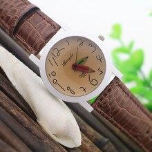 Бесплатная Доставка! Поощрение цена! Белый случае пластины, ПВХ кожаный ремешок, pencile дизайн стороны, Gerryda моды кварцевые кожа женщина часы