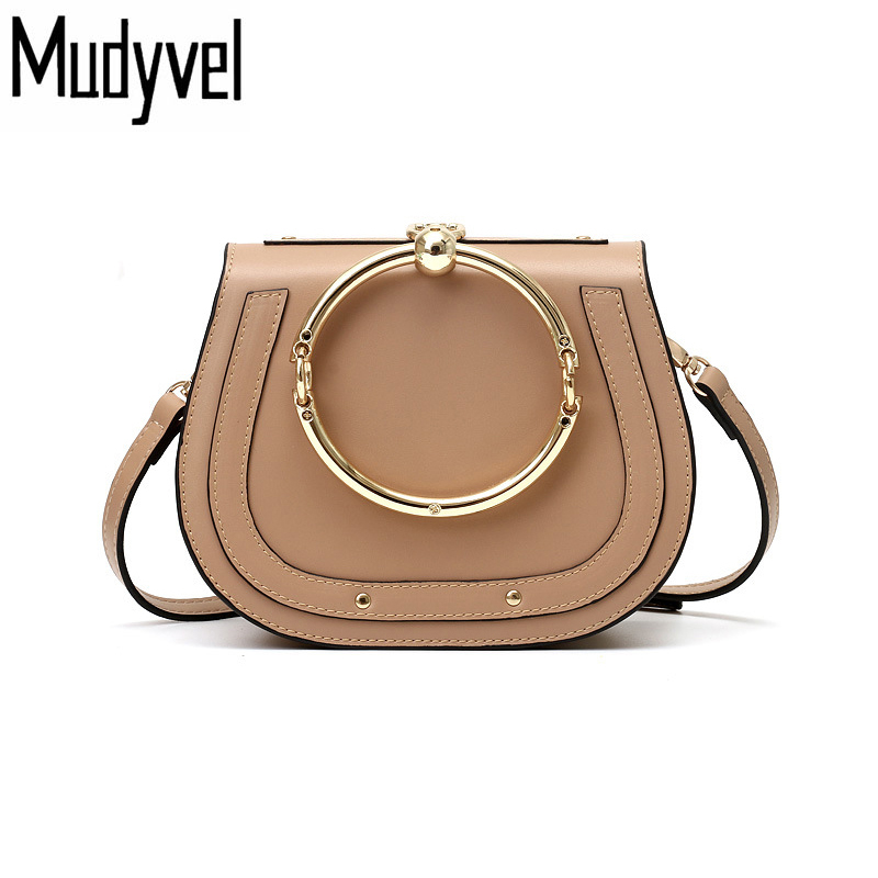New Luxury Women Handbag Retro Saddle  Metal Ring High quality PU leather Shoulder Bag for ladies crossbody tote metal ring holder combo phone bag luxury shockproof case for samsung galaxy note 8