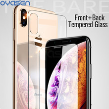 Front + Back Tempered Glass For iPhone X XR XS Max 9H Explosion-proof HD Transparent Screen Protector Film