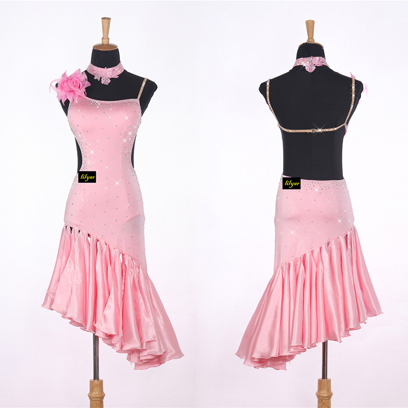 Sexy Lady Latin Dancing Dress Pink Nice Quality Rhinestone Fashion Women Adult Professional Tango Ballroom Dancing Skirt DL3709