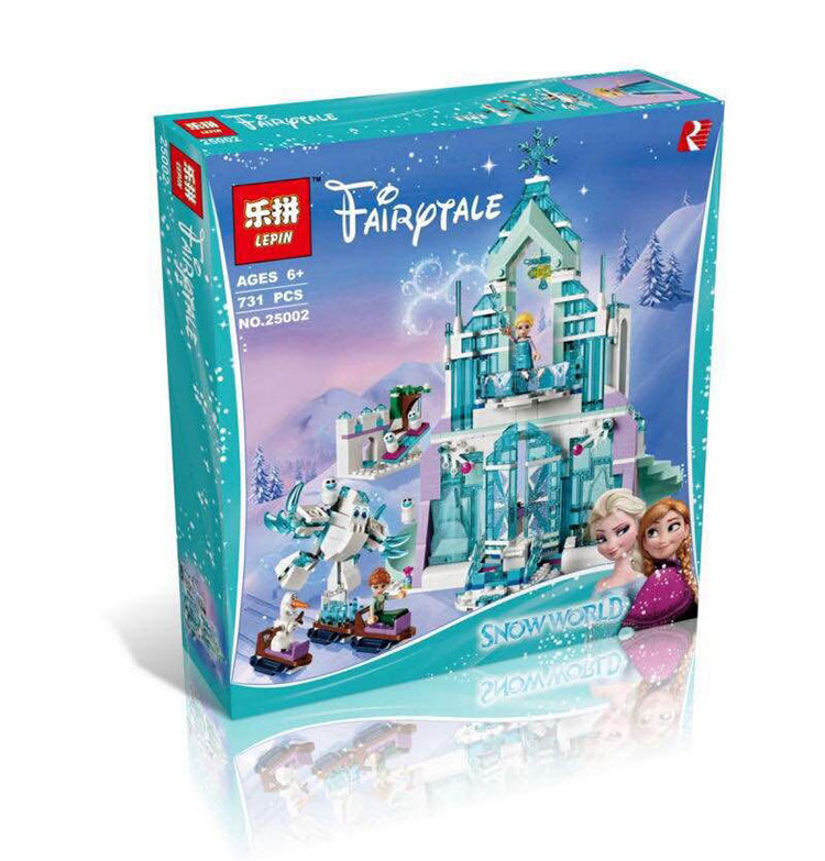 Model building kits compatible with lego city Elsa s Magical Ice Castle 3D blocks Educational font