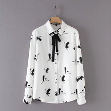2018 Spring Newest Cute Shirts Women's Printed Birds Blouse Tops Bowknot Shirt Lace-up Long Sleeve High-end White Shirt(China)