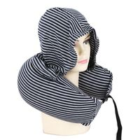 Soft Hooded U-pillow Body Neck Pillow Stripe Black And White Pillow Textile Home Airplane Car Travel Pillow Accessories CZ