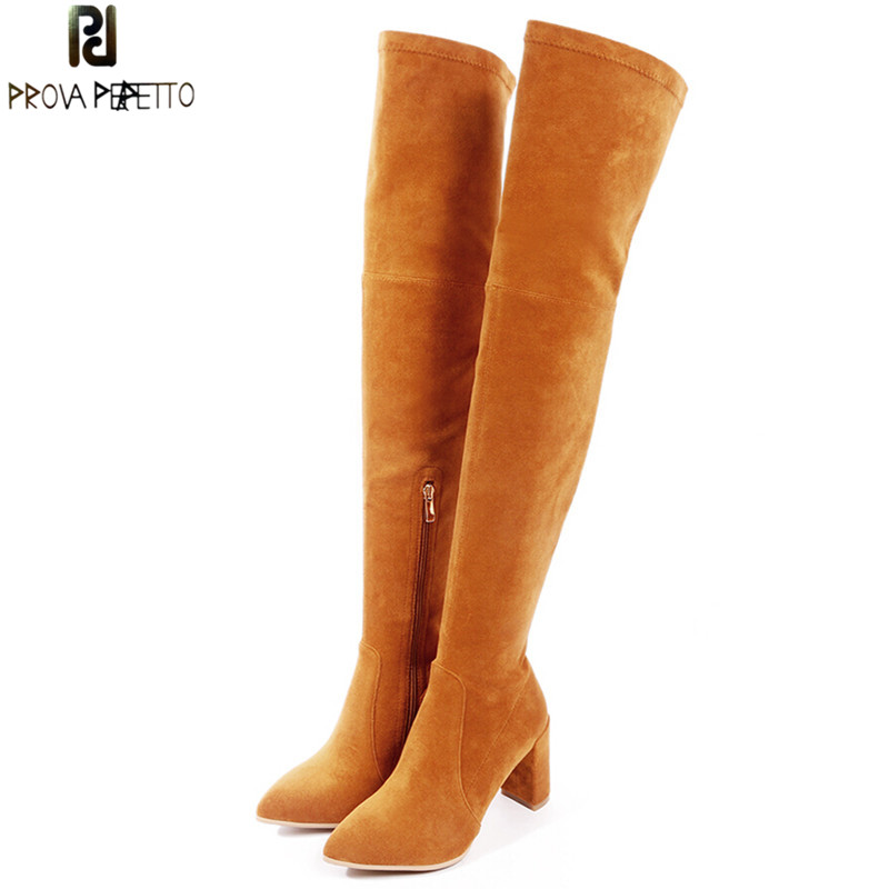 Prova Perfetto 2018 New Style Woman Over The Knee Boots Fashion Pointed Toe High Heel Boots Women Long Boots Roman Style Boots fashion style