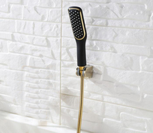 Free shipping Toilet Gold and black Hand held Shower Shattaf Spray Douche kit Jet & abs Golden Holder & 1.5m Hose BD458
