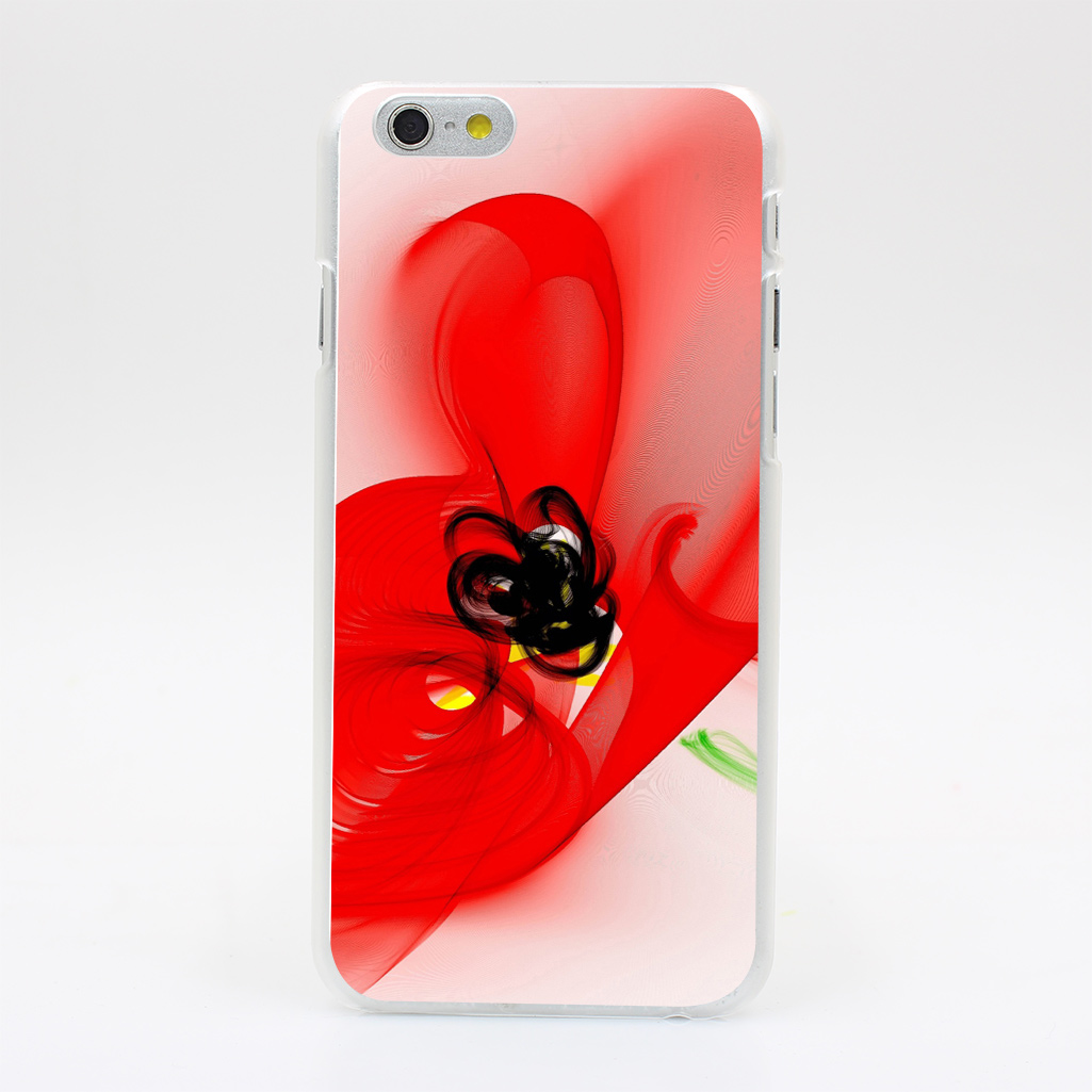 1088Y Graphics Poppies Flowers White Background Abstract Hard Case Transparent Cover for iPhone 4 4s 5 5s 5c SE 6 6s 7 & Plus