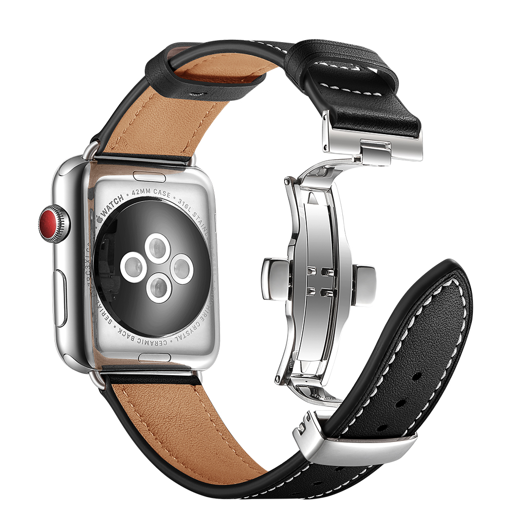 for apple watch band 42mm 38mm leather strap iwatch series 4/3/2/1 watchband replacement butterfly buckle wrist belt accessories for apple watch band leather watchband for iwatch bands 42mm 38mm series 3 2 1 butterfly buckle bracelet strap wrist accessories