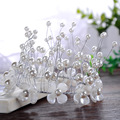 alloy bride tiara headband Europe and the United States imitation pearl alloy wreath hair accessories Crown with wholesale