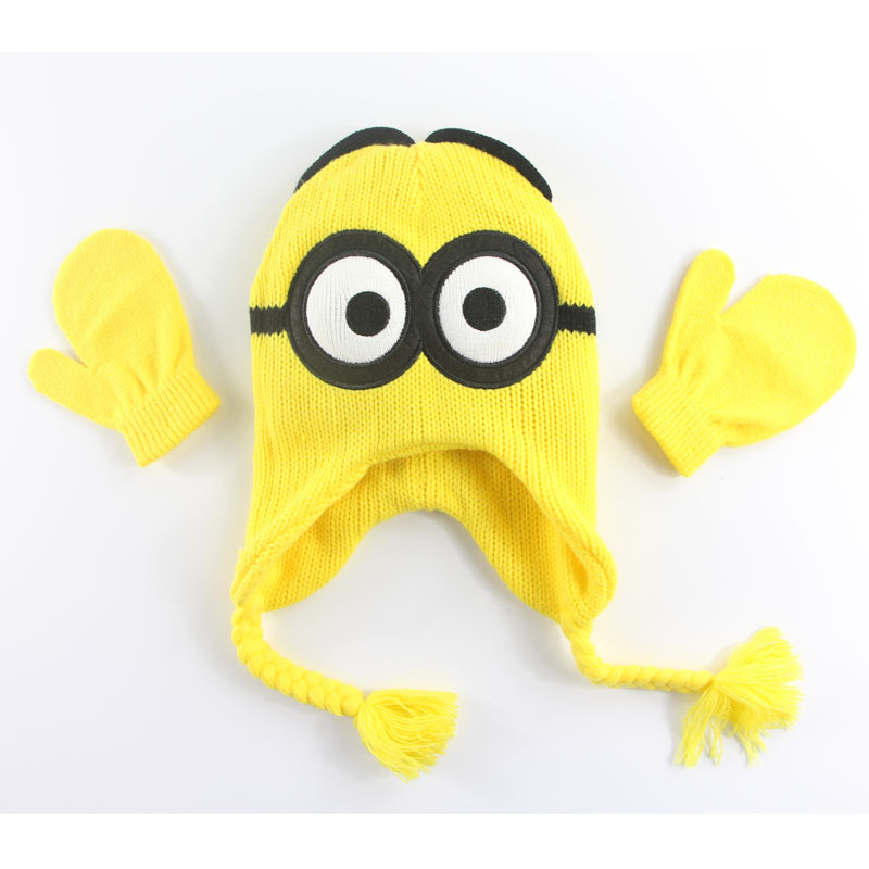 Radom STYLE 1PCS Despicable Me Cartoon Character Children Winter Hat Kids Scarf Gloves & Mittens Boys & Girls Hats & Caps