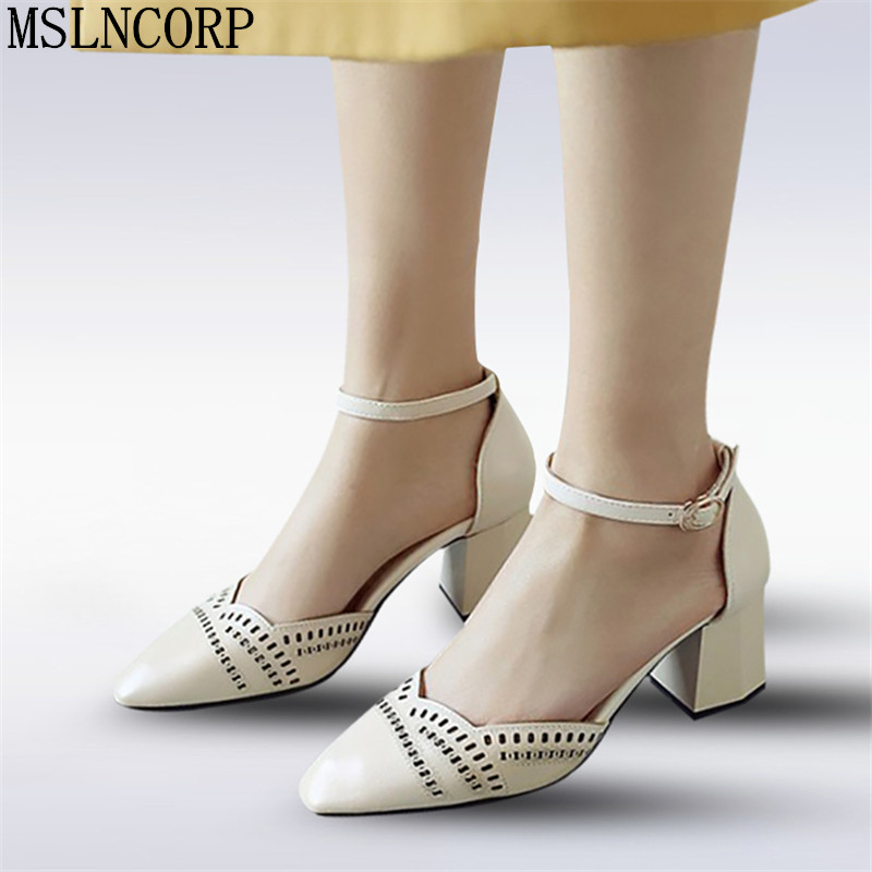 plus size 34-46 Summer Style Hollow Out Sandals Soft Leather Women Shoes Ankle Strap Pointed Toe High Heel Office Woman Pumps women flat sandals fashion ladies pointed toe flats shoes womens high quality ankle strap shoes leisure shoes size 34 43 pa00290