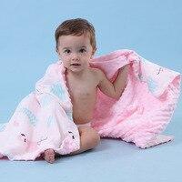 Double Layer Baby Blanket Newborn Muslin Swaddle Baby Blanket Soft Baby Minky Dot Receiving Blanket Stroller Blanket