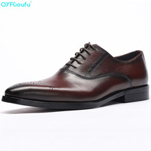 Luxury Designer Formal Men Dress Shoes Genuine Leather Classic Brogue Shoes Flats Oxfords For Wedding Office Business цена
